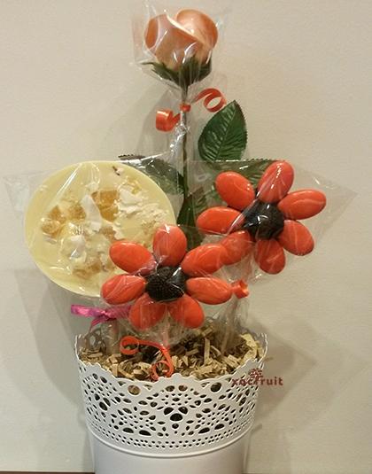 Montaje con flores comestibles